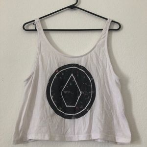 White crop top, tank top with volcom brand logo